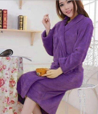 Hylong Band New Distaff Lady loosen Long Sleepwear Comfortable Robes Coral Fleece Spa Bathrobe Pink one size by Hylong (Image #4)