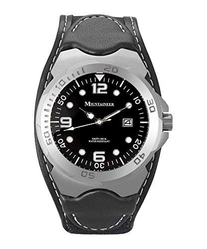 Mountaineer Mens Sport Watch Black Leather Nylon Strap White Stitching Reloj para Hombre MN1450