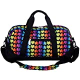 Wildkin Overnighter Duffel Bag, Features Moisture-Resistant Lining Padded Shoulder Strap, Perfect Sleepovers, Sports Practice Travel – Rainbow Hearts