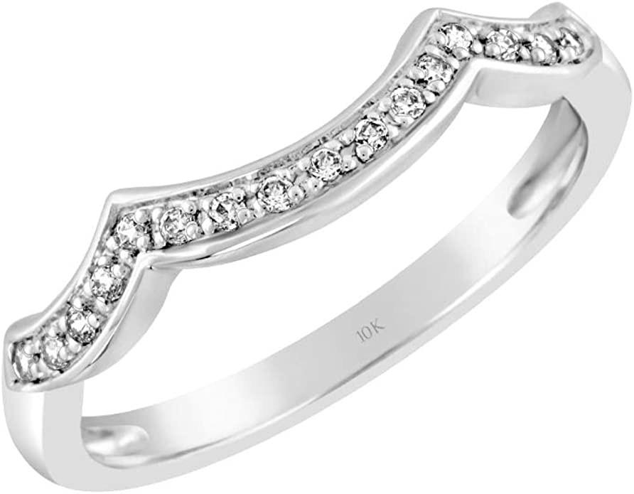 Brilliant Expressions 10K Yellow and White Gold 0.08 Cttw Conflict Free Diamond Wave Wedding or Anniversary Ring Enhancer I-J Color, I2-I3 Clarity