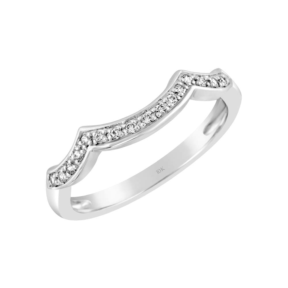 Brilliant Expressions 10K White Gold 1/10 Cttw Conflict Free Diamond Double Peaked Wedding Ring Enhancer (I-J Color, I2-I3 Clarity), Size 6 by Brilliant Expressions
