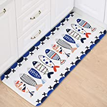 B&S FEEL Lovely Cartoon Fishes Pattern Non-slip Soft Kid Bedroom Kitchen Mat Rug,47x20 Inches