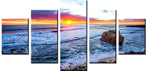 Wowdecor Canvas Prints 5 Pieces Multiple Pictures Wall Art - 5 Panels Beautiful Sunset Ocean Giclee Pictures Painting Printed on Canvas, Posters Wall Decor Gift - UNFRAMED - Gift Sc Charleston Shops