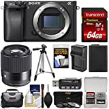 Sony Alpha A6300 4K Wi-Fi Digital Camera Body (Black) Sigma 30mm f/1.4 Lens + 64GB Card + Case + Battery & Charger + Tripod + Filters Kit