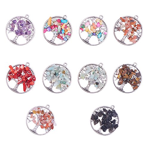 nbeads 10 Pcs Gemstone Pendants, with Alloy Findings, Flat Round with Tree of Life, Antique Silver, 37.5x34x2~6.5mm, Hole: 2mm Antique Silver Tree Pendant