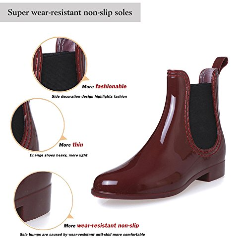Ankle Wellington Waterproof COFACE Wellies Boot Blue Non Women Slip Rain Boots Chelsea 5Fqw0tq
