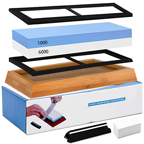 (Knife Sharpening Stone Whetstone 1000/6000 Grit Water Stone Sharpener Kit 2 Sided Wet Stone Set for Kitchen Chef Pocket Knives Chisel, Bonus Non-slip Bases Holder, Flattening Stone, Angle Guide)