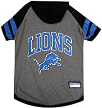 NFL Detroit Lions Hoodie for Dogs & Cats.   NFL Football Licensed Dog Hoody Tee Shirt, Medium  Sports Hoody T-Shirt for Pets   Licensed Sporty Dog Shirt