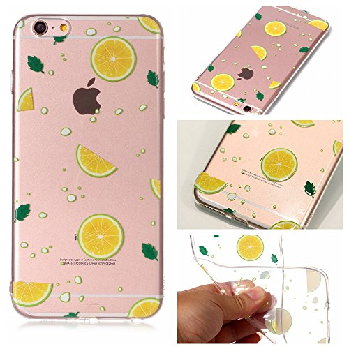 iPhone 6 6S Custodia , Leiai Moda Limone Silicone Morbido TPU Cover Case Custodia per Apple iPhone 6 6S