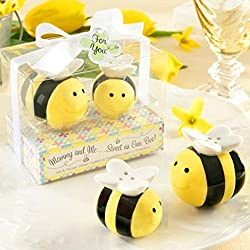 UKnows Ceramic Honeybee Seasoning Cans Salt Pepper Shakers Container Wedding Favors Set