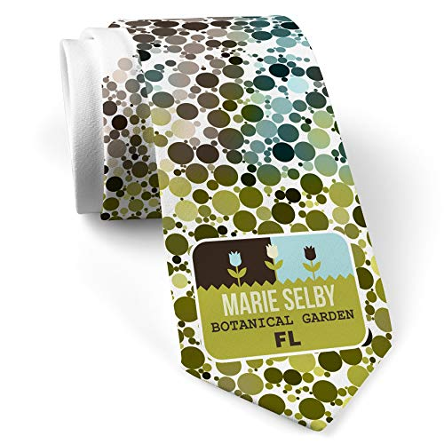 Neck Tie with US Gardens Marie Selby Botanical Garden - FL White with Color Print - Gardens Selby