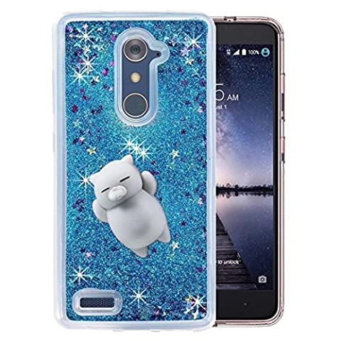 ZTE ZMAX Pro Z981 Case, QKKE 3D Cute Soft Silicone Squishy Bear Squishy Stress Reliever Hearts Flowing Liquid Heart Clear Hard Case for ZTE ZMAX Pro/Carry Z981/N9560/Z986 (Lazy Cat (Zte Zmax Phone Case Animals)