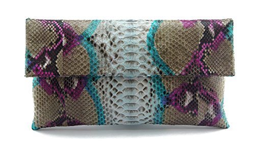 - Genuine Turkish Multicolor Python Leather Classic Foldover Clutch Bag