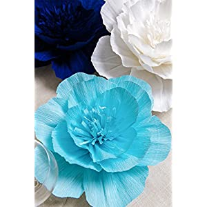 Paper Flower Decorations, Giant Paper Flowers (Navy Blue, Light Blue, White, Set of 7), Large Paper Flowers, Crepe Paper Flowers for Wedding, Nursery Wall Decoration, Baby Shower, Bridal Shower 4