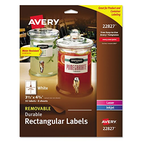Avery Removable Durable Rectangular Labels, White, 3.5 x 4.75 Inches, Pack of 32 (22827) by Avery