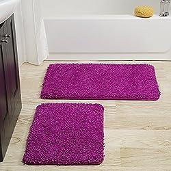 Lavish Home 2 Piece Memory Foam Shag Bath Mat - Pink