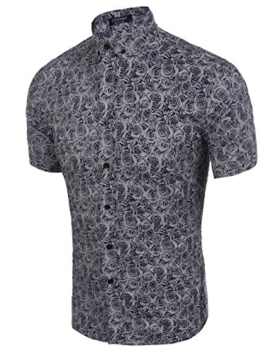 COOFANDY Mens Floral All Over Print Button Down Short Sleeve Shirt