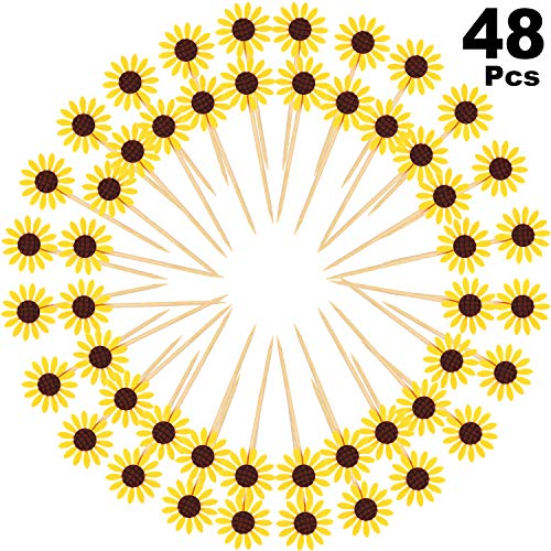 Sunflower Cake Decorations (48 Pieces Sunflower Cupcake Toppers Party Sunflower Cupcake Picks Party Sunflower Decoration for Baby Shower Decor, Kids Birthday)
