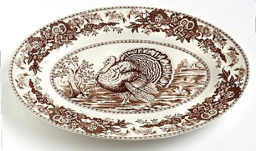 anksgiving Turkey Platter, Brown & White Transferware ()
