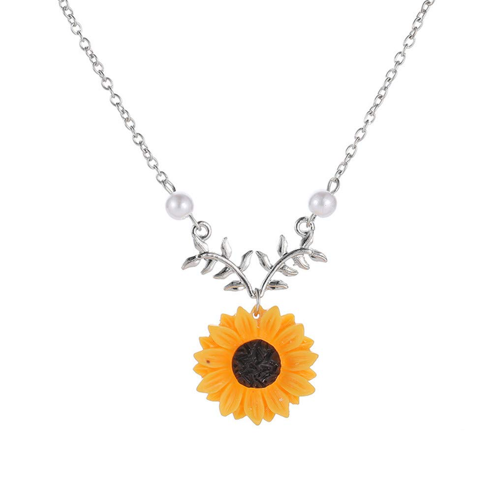 Bokeley Sweet Sunflower Pearl Leaf Pendant Necklace Resin Flower Boho Handmade Drop Pendant Choker Necklace Plated (Silver)