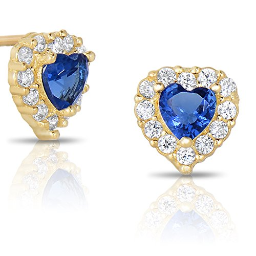 Tiny 14k Yellow Gold Heart Stud Earrings Cubic Zirconia Birth Month with Secure Screw Backs (Baby Yellow Earrings)