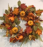 Pilgrims Harvest 22 Inch Fall Decorative Thanksgiving Wreath Front Door Indoor Seasonal Autumn Home Decor
