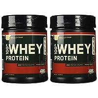Optimum Nutrition 100% proteína de suero, helado de vainilla, 1 libra (paquete de 2)