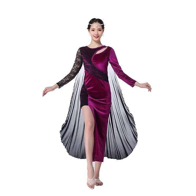 Amazon.com: Vestido de danza de vientre para mujer, de manga ...