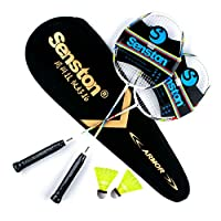 Senston Carbon Badminton Set,Badmintonschläger.Inklusive 2 Schläger(Rot und...