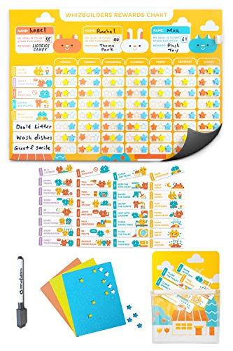 Behavior Chore Reward Chart for Multiple Kids - Potty Training Responsibility Magnetic Star Charts - Multiple Toddlers Dry Erase Easel Schedule - Wall Sticker Magnets Family Calendar Board Planner (Behavior Chart Good Bad)