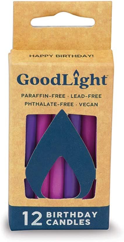 GoodLight Paraffin-Free Vegan Birthday Candles, Pink & Purple