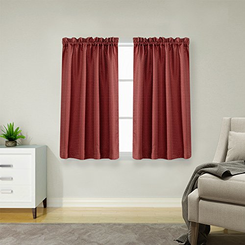 45 inch Long Curtains for Kitchen / Bathroom Window Curtain Set Burgundy Waffle Weave Curtains (Long Curtain Tailored)