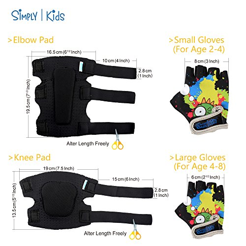 Innovative Soft Kids Knee and Elbow Pads With Bike Gloves | Toddler Protective Gear Set | Comfortable Breathable Safe | Roller-Skate, Skateboard, Rollerblade, BMX Knee Pads for Children Boys and Girls by Simply Kids (Image #5)