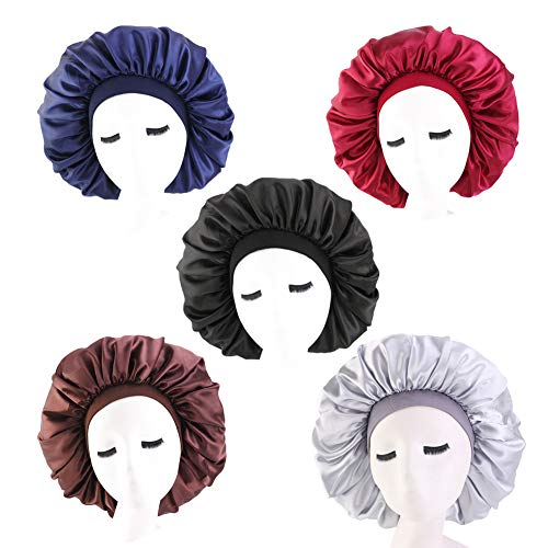 5 Pack Extra Large Sleep Cap, Jumbo Day and Night Sleep Cap Extra Large Satin Silk Bonnet Hair Bonnets with Elastic Wide Band Bonnet Head Cover Turban for Black Women Natural Curly Hair