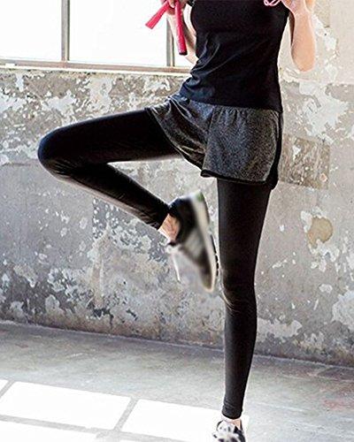 Conjunto de Ropa Deportiva Mujer Dos Piezas - Pantalones Mallas Largas Leggings Capris Shorts Camisa de Manga Corta Yoga Fitness Camisetas + Pantalones Largos
