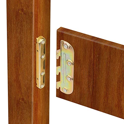Discover Bargain Surface Mounted Bed Rail Brackets-Bed Frame Hardware for Wood Bed Frame Headboards ...
