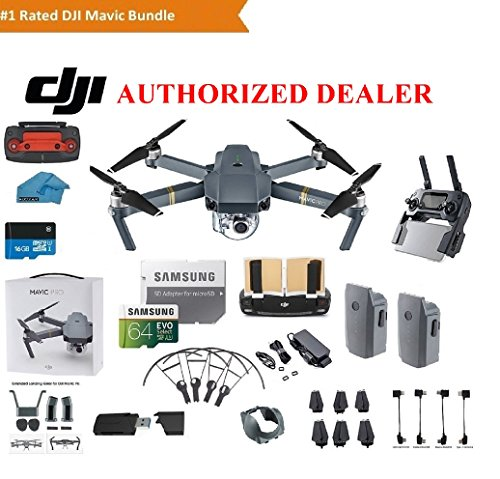 DJI Mavic Pro Drone Quadcopter 4K Professional Camera Gimbal Bundle Kit with 2 Batteries, 64GB SD...
