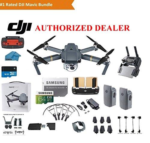 DJI Mavic Pro Drone Quadcopter 4K Professional Camera Gimbal Bundle Kit with 2 Batteries, 64GB SD...