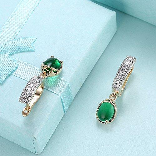 Faysting EU Boucles d'oreilles Femme Paire d'Boucles d'oreilles Style Clip Bracelet Perles Style de Mode Vert Bon Cadeau pour la Saint-Valentin