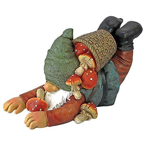 Sculpted Gnome Garden (Garden Gnome Statue - Clumsy Karl the Mushroom Hunter Garden Gnome - Lawn Gnome)