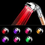 LED Shower Head, HWTONG Handheld Shower Head, Negative Ionic Double Filter Removes Heavy Metals, Chlorine, Bacteria and Impurities, 7 Color Changing[Large]