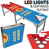 LED Beer Pong Table – Portable 8ft & Easy Folding w/ Adjustable Height – Cup Hole Outline Design w/ Red + Blue LED Lights – Perfect for Tailgates, BP Parties, Flip Cup By Drinking Game Zone