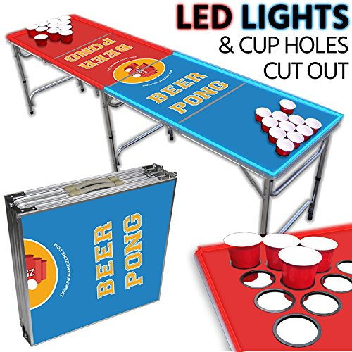 LED Beer Pong Table – Portable 8ft & Easy Folding w/ Adjustable Height – Cup Hole Outline Design w/ Red + Blue LED Lights – Perfect for Tailgates, BP Parties, Flip Cup By Drinking Game Zone by Drinking Game Zone