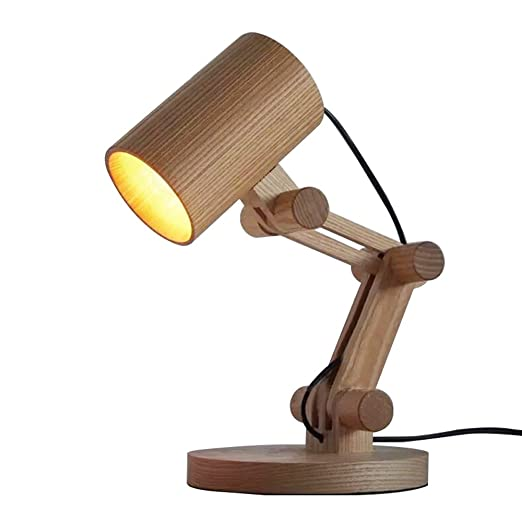 KXBYMX,Lámpara de Escritorio nórdica Lámpara de Mesa de Madera ...