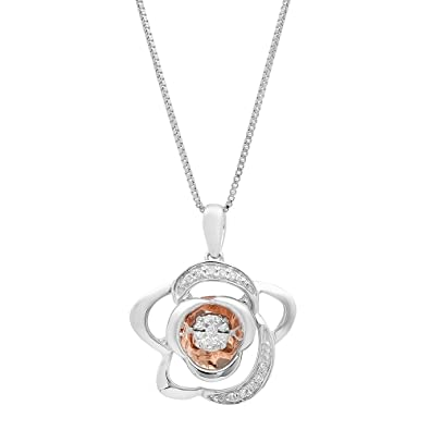 5be88552cede Sterling Silver and 10k Rose Gold Dancing Diamond Pendant Necklace (1 10  cttw