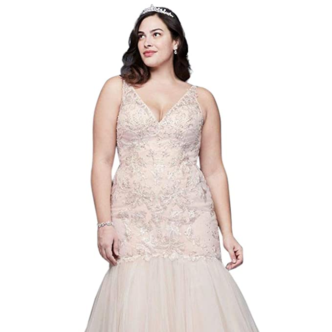 Mermaid Beaded Floral Lace Plus Size Wedding Dress Style ...