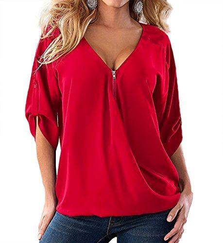 T Mode Femme Lache Casual Rouge Manches WSLCN V Courtes Tunique Chemisier Shirt Haut Zipp Tops Blouse Col UEwBxq4Z