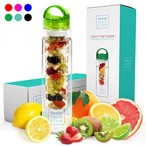 Savvy Infusion Water Bottles - 24 or 32 Ounce Fruit Infuser Bottle - Featuring Unique Leak Proof Silicone Sealed Cap with Handle - Great Gifts for Women by Savvy Infusion