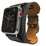MoKo Compatible Band Replacement for Apple Watch 42mm 44mm Series 4/3/2/1, Genuine Leather Smart Watch Band Cuff Replacement Strap - Black (Not Fit 38mm 40mm Versions)