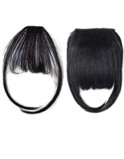 YMHPRIDE 2 PCS Clip in Bangs Human Hair for Women Natural Black Hair Bangs Clip in Fringe Hairpieces Straight Flat Bangs with Temples Flat Air Bangs